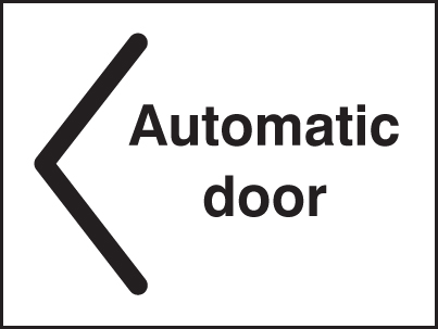 27071E Automatic door < Self Adhesive Vinyl (200x150mm) Safety Sign