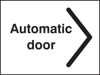 27072A Automatic door > Self Adhesive Vinyl (100x75mm) Safety Sign