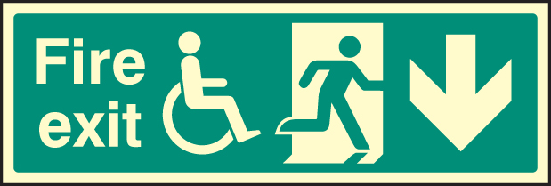 31227g Fire Exit Running Man Disabled Symbol Arrow Down
