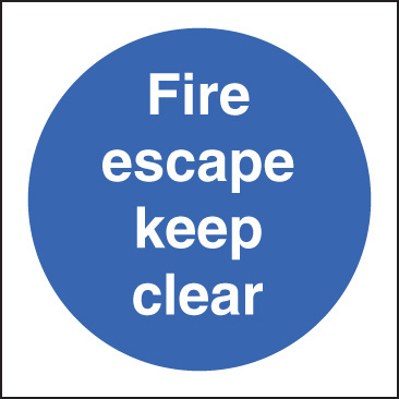 31605B Fire escape keep clear Photoluminescent Rigid (80x80mm) Safety Sign