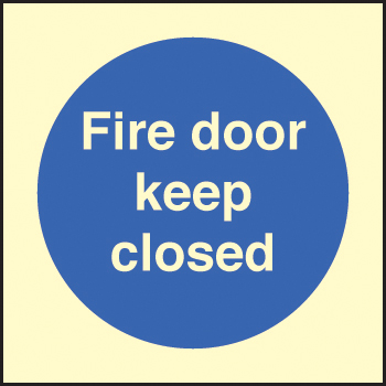 31616B Fire door keep closed Photoluminescent Rigid (80x80mm) Safety Sign