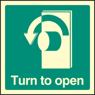 32034U Turn to open - left Photoluminescent Rigid (100x100mm) Safety Sign