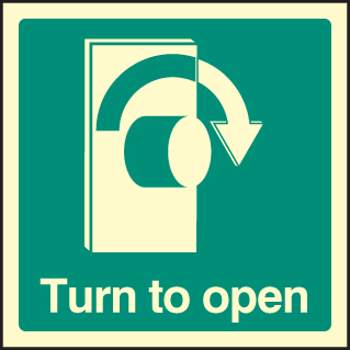 32037U Turn to open - right Photoluminescent Rigid (100x100mm) Safety Sign