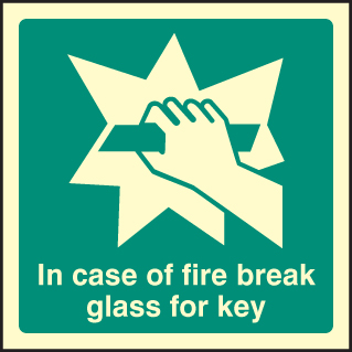 32044F In event of fire break glass for key Photoluminescent Rigid (200x200mm) Safety Sign