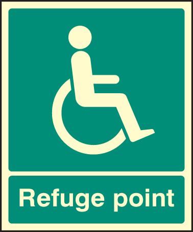 32095E Refuge point Photoluminescent Rigid (200x150mm) Safety Sign