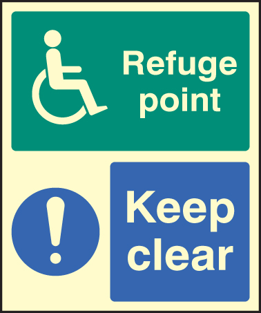 32096E Refuge point keep clear Photoluminescent Rigid (200x150mm) Safety Sign