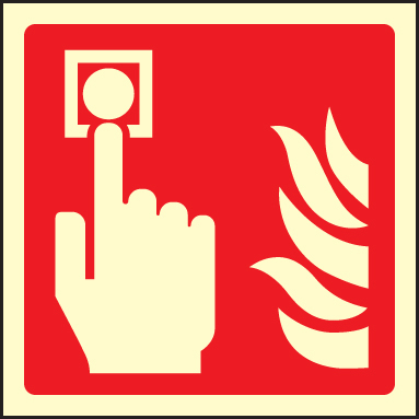 41017U Fire alarm call point symbol Photoluminescent S/A Vinyl (100x100mm) Safety Sign