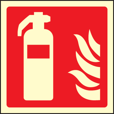 41018C Fire extinguisher symbol Photoluminescent S/A Vinyl (150x150mm) Safety Sign