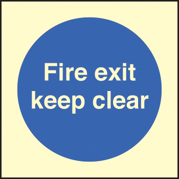 41606F Fire exit keep clear Photoluminescent S/A Vinyl (200x200mm) Safety Sign