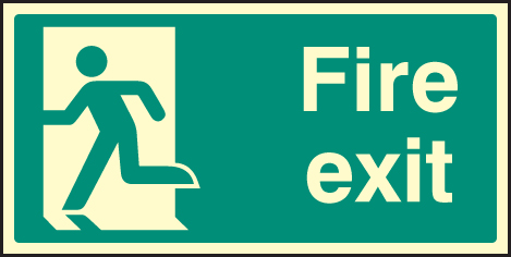 42056X Fire exit - left symbol Photoluminescent S/A Vinyl (200x100mm) Safety Sign