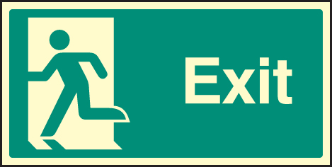 42057J Exit - left symbol Photoluminescent S/A Vinyl (400x200mm) Safety Sign
