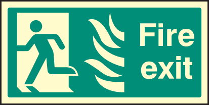 42081J Fire exit left HTM Photoluminescent S/A Vinyl (400x200mm) Safety Sign