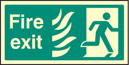 42082V Fire exit photo HTM (right) Photoluminescent S/A Vinyl (300x150mm) Safety Sign