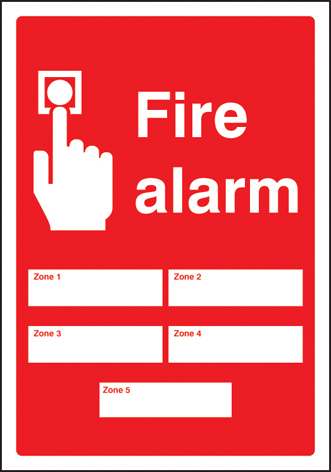51043 Fire alarm 5 zones adapt-a-sign 215x310mm  (215 x 310mm) Safety Sign