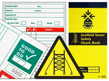 51303 Good to go safety scaffold tower check book  (H210xW100xD5mm) Safety Sign