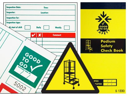 51330 Good to go safety podium steps check book  (H210xW100xD5mm) Safety Sign