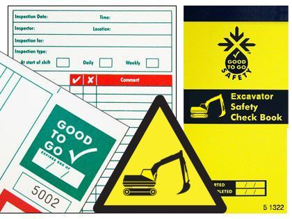 51342 Good To Go Safety Excavator Check Book - 25 inspections Safety Sign