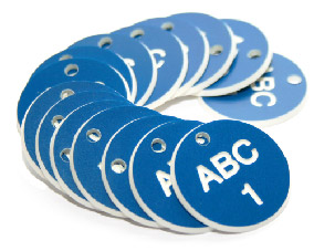 51503 27mm Engraved Valve Tags - 50 sequential numbers - (eg. 1-50) White text on blue  (27mm dia)