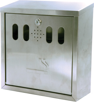 53036 Wall mounted stainless steel cigarette bin  (H260xW260xD100mm) Safety Sign