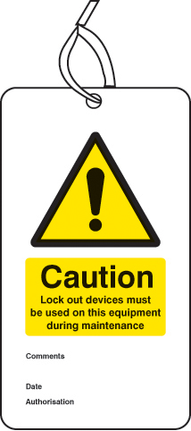 55075 Lockout Tag - Lock out device must be used on this equipment... (80x150mm) Pk of 10