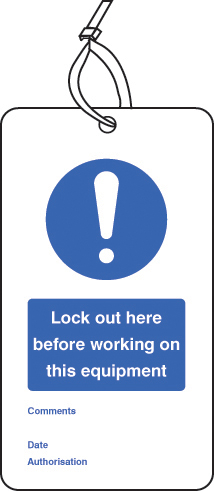 55076 Lockout Tag - Lock out here before working on... (80x150mm) Pk of 10  (80x150mm) Safety Sign