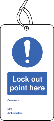 55077 Lockout Tag - Lock out point here (80x150mm) Pk of 10  (80x150mm) Safety Sign