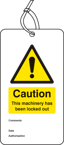 55082 Lockout Tag - Caution this machinery has been locked out (80x150mm) Pk of 10  (80x150mm)