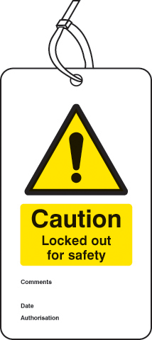 55083 Lockout Tag - Caution Locked out for safety (80x150mm) Pk of 10  (80x150mm) Safety Sign