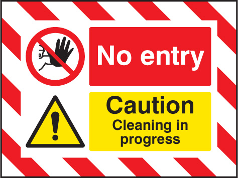 55135 Door Screen Sign- No entry Caution cleaning in progress 600x450mm  (600x450mm) Safety Sign