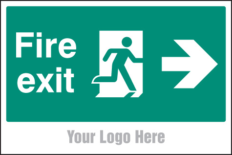 55789 Fire exit, arrow right, site saver sign 600x400mm  (600x400mm) Safety Sign