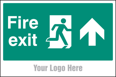 55791 Fire exit, arrow up, site saver sign 600x400mm  (600x400mm) Safety Sign