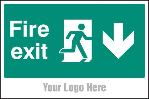 55792 Fire exit, arrow down, site saver sign 600x400mm -  Miscellaneous (600x400mm) Safety Sign