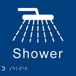 56115 Braille - Shower  (150x150mm) Safety Sign