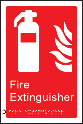 56179 Braille - Fire extinguisher  (150x225mm) Safety Sign