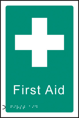 56180 Braille - First aid  (150x225mm) Safety Sign