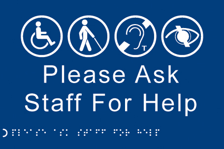56490 Braille - Please ask staff for help  (225x150mm) Safety Sign