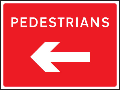 57628 Pedestrians arrow left/right fold up 600x450mm sign  (600x450mm) Safety Sign