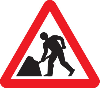 57647 Road works fold up 750mm triangle sign  (750mm) Safety Sign