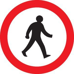 57723 Pedestrians prohibited Class R2 Permanent 600mm Dia (3mm aluminium composite) Safety Sign