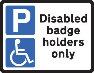 57732 Disabled badge holders Class R2 Permanent 320x250mm (3mm aluminium composite) Safety Sign