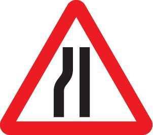 57764 Road narrows left side class R2 Permanent 600mm Tri (3mm aluminium composite) Safety Sign