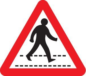 57793 Pedestrians crossing ahead class R2 Permanent 600mm triangle (3mm aluminium composite)