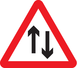 57858 Two way traffic class RA1 600mm triangle  (600mm) Safety Sign