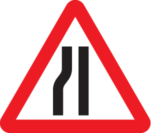 57864 Road narrows left side class RA1 600mm tri  (600mm) Safety Sign