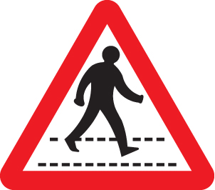 57893 Pedestrians crossing ahead class RA1 600mm  (600mm) Safety Sign