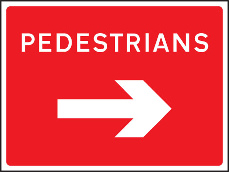 57901 Pedestrians arrow right 1050x750mm Class RA1 zintec  (1050x750mm) Safety Sign