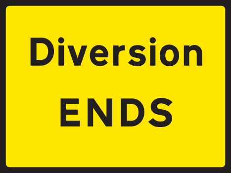 57904 Diversion end 1050x750mm Class RA1 zintec  (1050x750mm) Safety Sign