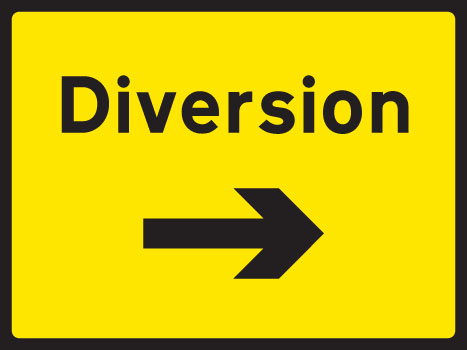57905 Diversion right 1050x750mm Class RA1 zintec  (1050x750mm) Safety Sign