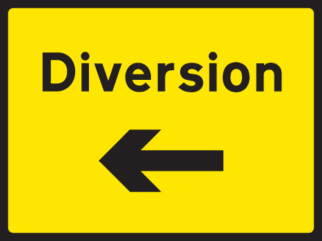 57906 Diversion left 1050x750mm Class RA1 zintec  (1050x750mm) Safety Sign