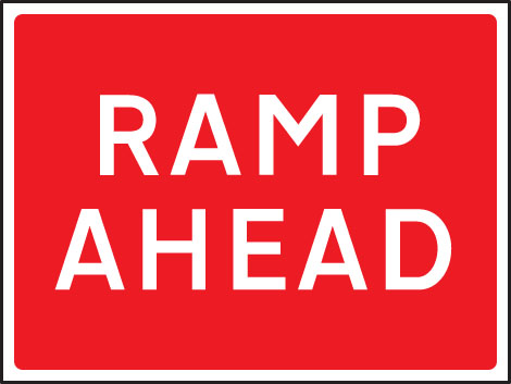 57911 Ramp ahead 1050x750mm Class RA1 zintec  (1050x750mm) Safety Sign